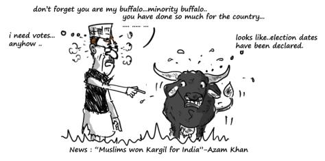 azam khan cartoon on muslim won kargil,mysay.in,political cartoons,
