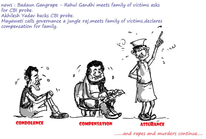 badaun gangrape,rahul gandhi cartoon,mayawati cartoon,akhilesh yadav cartoon,mysay.in,