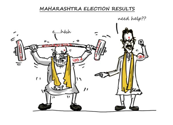 amit shah cartoon,uddhav thackeray cartoon,shiv sena cartoon,bjp cartoon,maharashtra 2014 election cartoon,