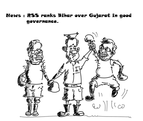 modi vs nitish kumar cartoon, rss cartoon, mysay.in,political cartoons,