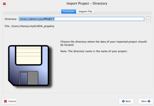 import project directory