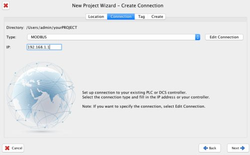 project wizard connection