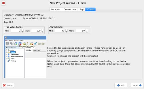project wizard finish