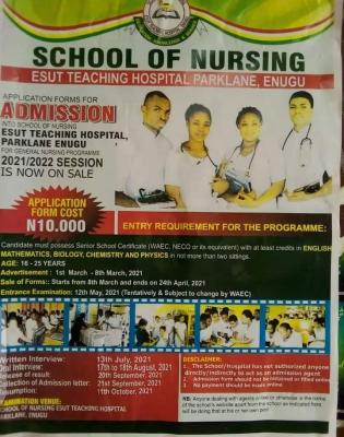 ESUT Teaching Hospital General Nursing programme for 2021/2022 session