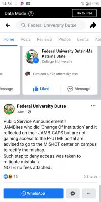 FUD notice to 2020 Post-UTME candidates