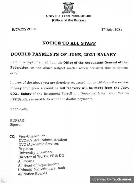 UNIMAID notice on payment of double salaries to staff members