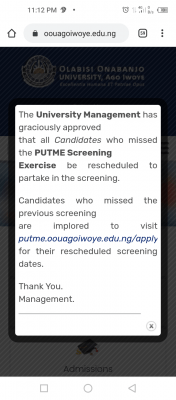 OOU schedules another Post-UTME screening for candidates that missed the 1st one