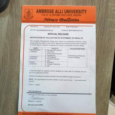 AAU notice to graduating students already mobilized for NYSC on collection of statement of results