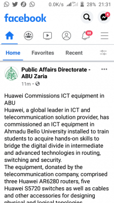 Huawei commissions ICT equipment in ABU