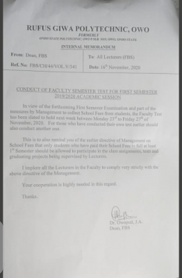RUGIPO notice on conduct of faculty test for 1st semester 2019/2020 session