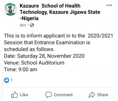School of Health Technology, Kazaure entrance exam date for 2020/2021