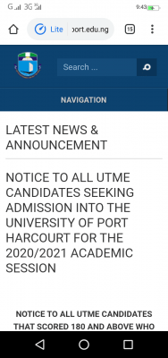 UNIPORT announces 2020 Post-UTME screening cut-off score