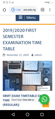 Fed Poly, Nekede 1st semester exam timetable for 2019/2020 session