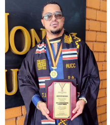 Actor Van Vicker celebrates his graduation from the university 24 years after high school