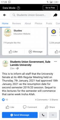 Sule Lamido University SUG notice on resumption