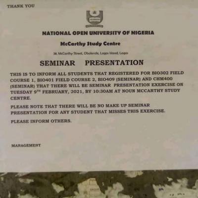 NOUN, Mccarthy Study Centre notice to students on seminar presentation
