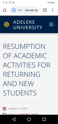 Adeleke University notice on resumption of academic activities for new and returning students