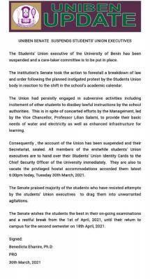 UNIBEN suspends Students' Union Executives