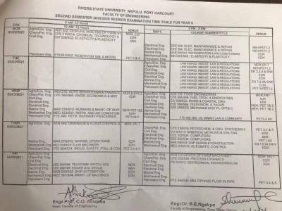RSUST 2nd semester exam timetable for 2019/2020 session