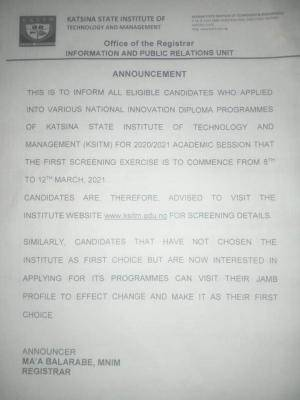 Katsina Institute Of Technology and management 1st Batch screening exercise