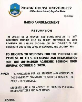 NDU announces resumption of academic activities
