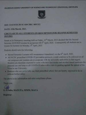 OAUSTECH notice on 2nd semester resumption for 2019/2020 session