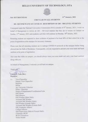 Bells University notice on resumption to 200-500 Level students