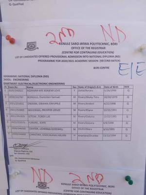 KENPOLY 2nd Batch ND (Part time) Admission List, 2020/2021