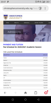 Christopher Univerisity Fee Schedule for 2020/2021 Academic Session