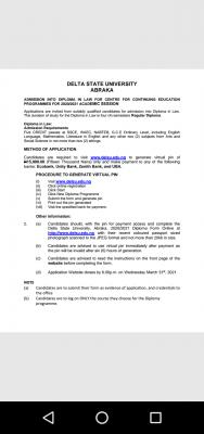 DELSU Diploma Admission Form for 2020/2021 session