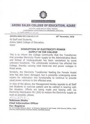 Aminu Saleh COE notice to staff and students on disruption of electricity power supply