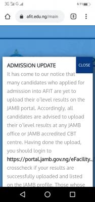 AFIT notice to 2020 post-UTME candidates