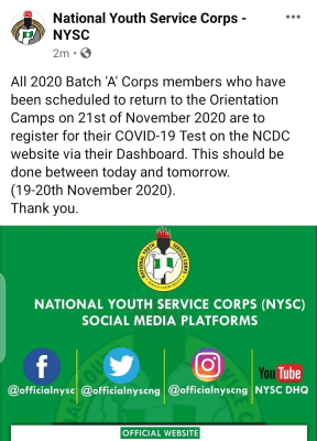 NYSC notice to 2020 Batch 'A' corps members on COVID-19 test registration