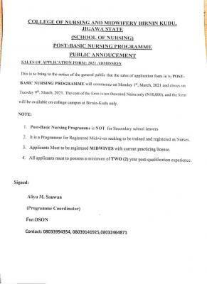 Jigawa State College on Nursing, Birnin Kudu Post-Basic Nursing Form 2020/2021