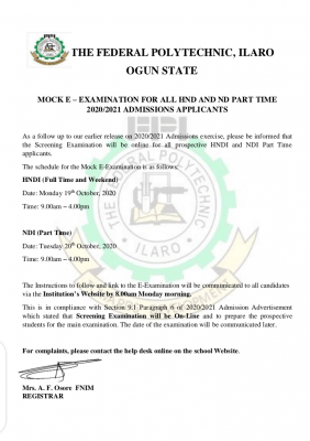 Ilaro Poly notice to 2020/2021 HND and ND part-time applicants on e-mock examination