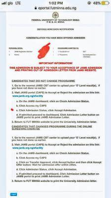 FUTMINNA admission list has been released