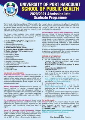 UNIPORT School of Public Health postgraduate admission form, 2020/2021