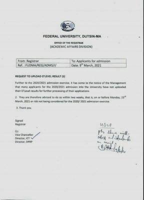 FUDutsinma uploading of O'level result deadline for 2020/2021 admission exercise