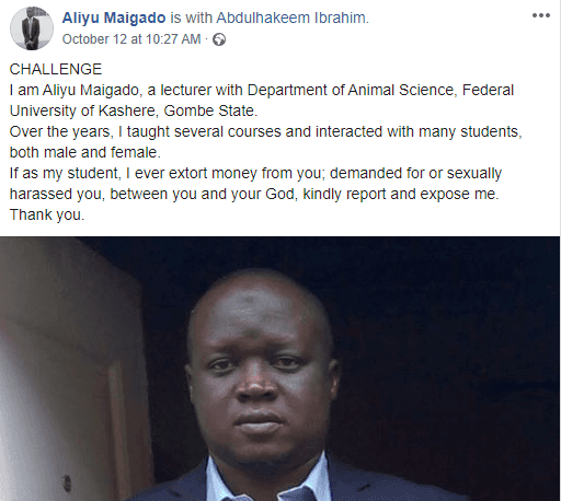 #Sexforgrade- Nigerian Lecturer Challenges His Students to Expose Him
