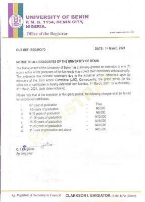 UNIBEN notice to graduates on collection of certificates