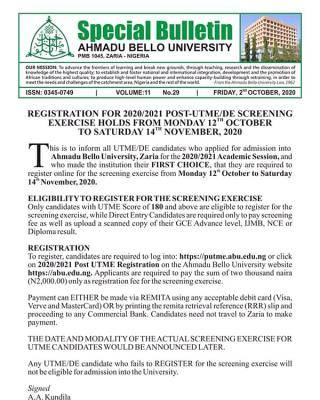 ABU Post-UTME/DE 2020: Cut-off mark, Eligibility, Screening Dates and Registration Details