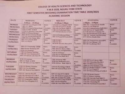 College of Health Science and Tech., Nguru 1st Semester Exam Timetable, 2020/2021