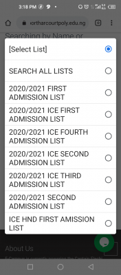 Elechi Amadi Poly HND part-time admission list for 2020/2021 session