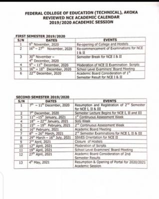 FCE Technical Academic Calendar