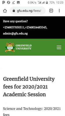 Greenfield University school fees and charges for 2020/2021 academic session