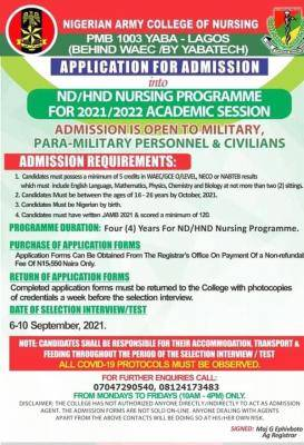Nigerian army college of nursing ND&HND admission form 2021/2022 session