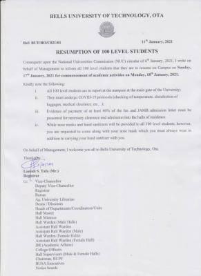 Bells University notice on resumption to 100 level students