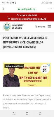 UNILAG appoints Prof. Ayodele Atsenuwa as new DVC (development services)
