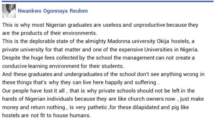 Facebook User Cries Out Over The Shabby State of Madonna University (Graphic Photo)