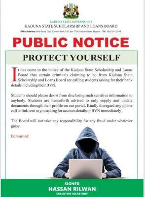 Kaduna State Scholarship Board scam alert notice